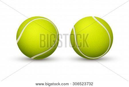 Yellow Tennis Ball Closeup On A White Background.