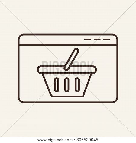 Shop Site Line Icon. Webpage, Browser Window, Shopping Basket. Ecommerce Concept. Vector Illustratio
