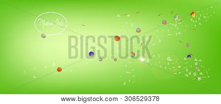 Breezy Space And Signs Confetti. Usefull Colorific Illustration. Background Texture. Ultra Wide Back