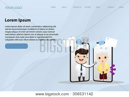 Mobile Doctor. Smiling Doctor On The Phone Screen. Medical Internet Consultation. Healthcare Consult