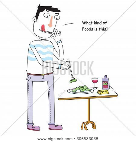 Cartoon Of A Curious Man Eats Free Food