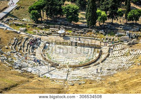 Theatre Of Dionysus At The Foot Of Acropolis, Athens, Greece. It Is An Old Landmark Of Athens. Sceni