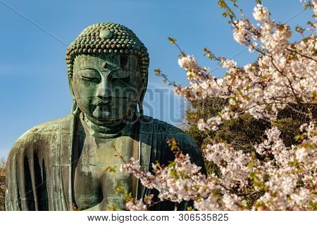 Monumental Bronze Statue Of Amitabha Buddha, Which Is One Of The Most Famous Symbols Of Japan.