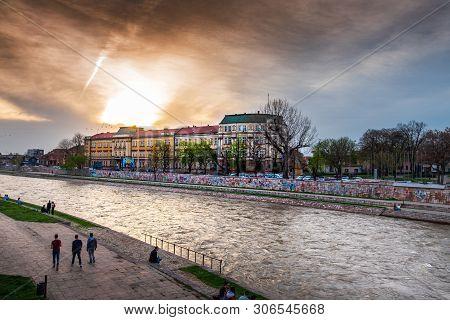Nis, Serbia - November 4, 2018: City Of Nis University Landmark View By The Nisava River On A Calmin
