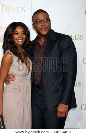 LOS ANGELES - FEB 14:  Gabrielle Union, Tyler Perry arrives at the