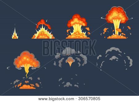 Cartoon Bomb Explosion Animation. Exploding Animated Frames, Atomic Explode Effect And Explosions Sm