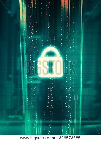 Cyber Security And Information Or Network Protection. Futuristic Cyber Technology.