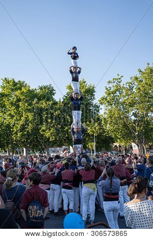Cambrils, Spain. June 2019: Castells Performance, A Castell Is A Human Tower Built Traditionally In