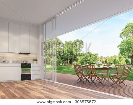 Outdoor Dining Table On The Balcony 3d Render.rooms Have Wooden Floors, Decorated With Wooden Furnit