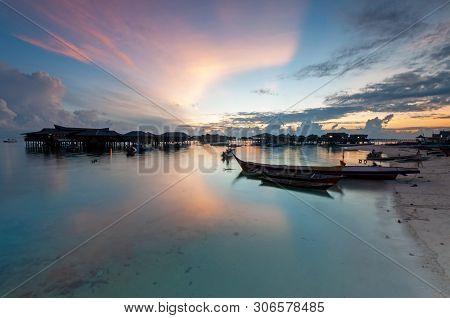Sunrise Over Mabul Kapalai Island In Sabah Borneo Malaysia
