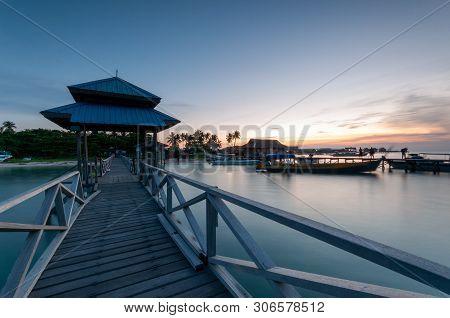 Sunset Over Mabul Kapalai Island In Sabah Borneo Malaysia