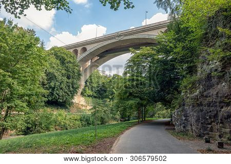 Valley Through Luxembourg City With View At Bottom Side Adolphe Bridge Across Petrusse Creek
