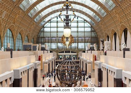 Paris, France, 15 May 2019 - Interior View Of Museum Orsay In Paris With Visitors At The Musee D Ors