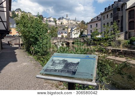 Luxembourg City, Luxembourg - August 21, 2018: Downtown Luxembourg City Part Grund With Information