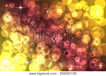 Abstract Defocused Bokeh Pattern Wallpaper. Yellow And Lilac Blurred Background.