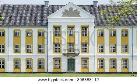 Facade Of Augustenborg Castle Tourist Landmark In Denmark