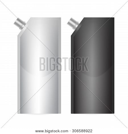 Doy-pack Blank Of Black And White Colors. Clean Doypack Bag Packaging With Corner Spout Lid. Plastic