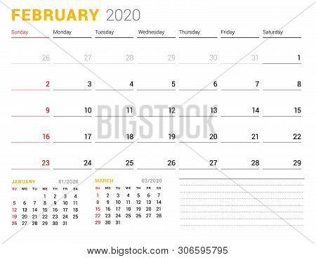 Calendar Template For February 2020. Business Planner. Stationery Design. Week Starts On Sunday. Vec