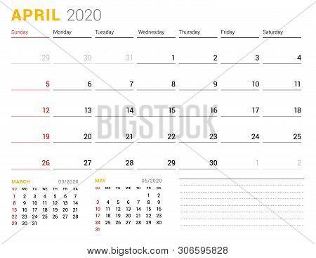 Calendar Template For April 2020. Business Planner. Stationery Design. Week Starts On Sunday. Vector