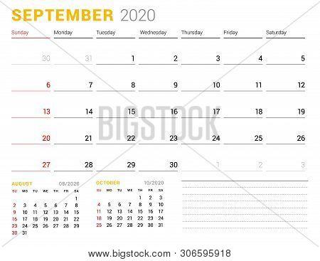 Calendar Template For September 2020. Business Planner. Stationery Design. Week Starts On Sunday. Ve