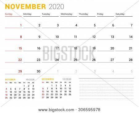 Calendar Template For November 2020. Business Planner. Stationery Design. Week Starts On Sunday. Vec