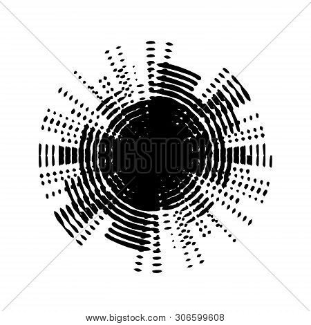 Abstract Grunge Stamp Texture. Circle Sound Waves Irradiation Sybmol. Distress Icon, Banner, Label,