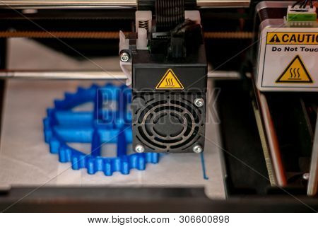 Perm, Russia - June 14, 2019: 3d Printer Printhead During Printing Volume Detail In Close-up With Bl