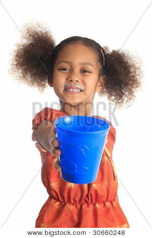 African American Children And Asian Long Hair Drinks Milk.