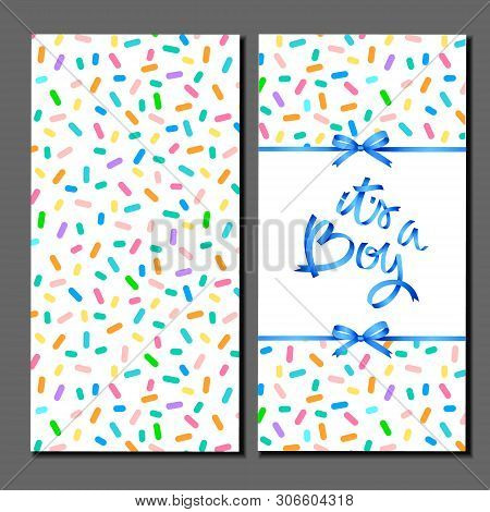 Its A Boy. Card Cover Template. Blue Hand Lettering On Abstract Pattern With Confetti Sprinkles.