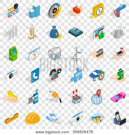 Concern Icons Set. Isometric Style Of 36 Concern Vector Icons For Web For Any Design