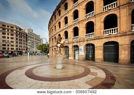 Valencia, Spain - May 06, 2019: Entrance Of The Plaza Del Toros, A Bullfighting Arena, That Holds 10