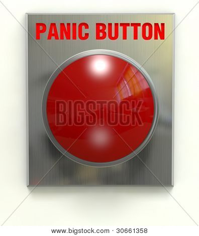 Red panic button mounted on a brushed stainless plate with clipping path