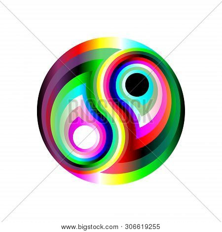 Design Rainbow Symbol Yin-yang. Digital Electronic, Disco Trans Rave Abstraction. Isolated Vector Il