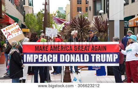 Oakland, Ca - June 15, 2019: Unidentified Protesters With Signs In Front Of The Federal Courthouse,
