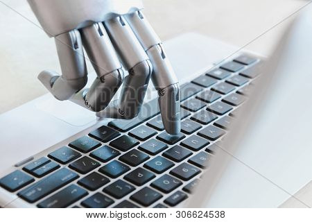 Robot Hands And Fingers Point To Laptop Button Advisor Chatbot Robotic Artificial Intelligence Conce