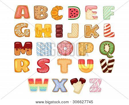 Set Of Tasty Alphabet Letters. Delicious, Sweet, Tasty Shaped Alphabet Typography