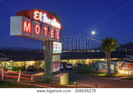 Kingman, Arizona, Usa - October 24, 2018 : El Trovatore Motel With Famous Neon Sign Located On Histo