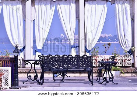 Udaipur, Rajasthan / India - 16th June 2019: Abstract Background Of Colourful Wedding Tent Setup Wit