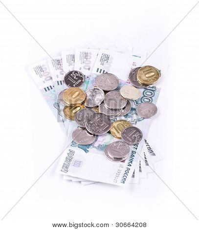 Placer coins on banknotes