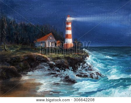 Original Oil Painting Of  Lighthouse And Cliffs At Night On Canvas.sky Full Of Stars Over Ocean.mode