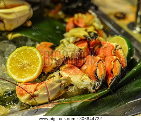Seafood Buffet Line In Hotel Restaurant