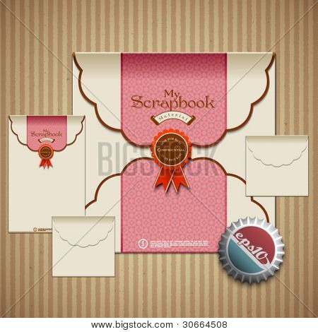 Vector Retro Envelop Set for Scrapbook Design