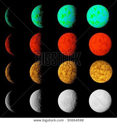 Phase Of Lighting Different Planets. Planets In Deep Dark Space. Abstract Illustration Of Universe.