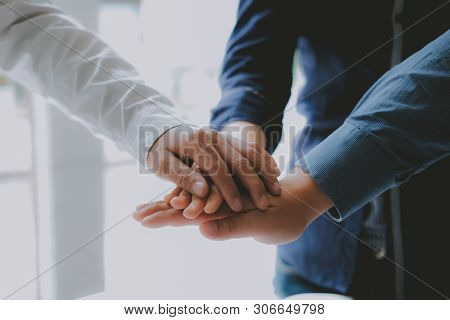 Businessman Joining United Hand, Business Team Touching Hands Together. Unity Teamwork Partnership C