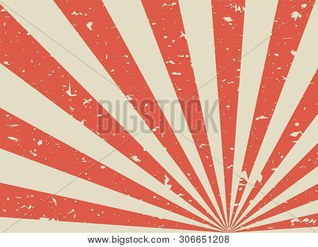 Sunlight Retro Faded Grunge Background. Red And Beige Color Burst Background.