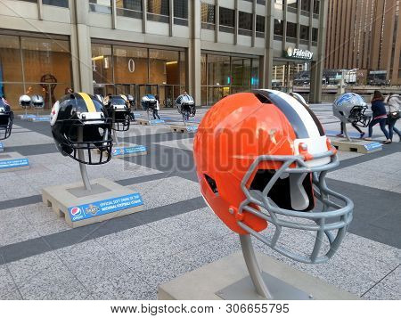 Chicago, Il April 21, 2015, Nfl Football Helmets On Display At Pioneer Court Promoting The Nfl Draft