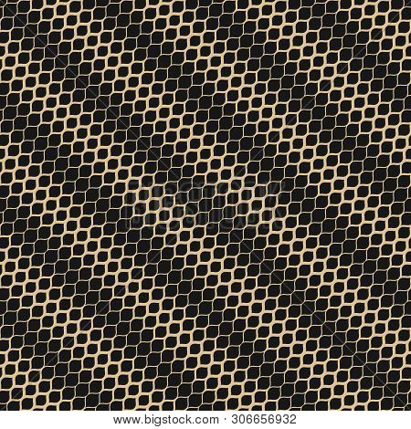 Vector Halftone Geometric Seamless Pattern. Elegant Black And Gold Ornament With Diagonal Gradient T