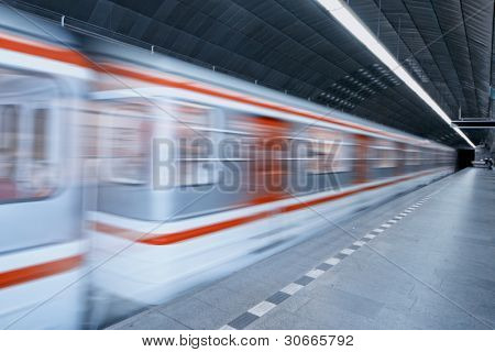 metro station with an highspeed train