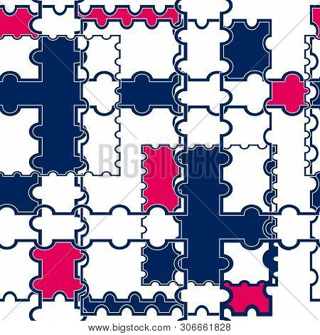 Seamless Patchwork Geometrical Shapes Contrast Ornamental Pattern Background