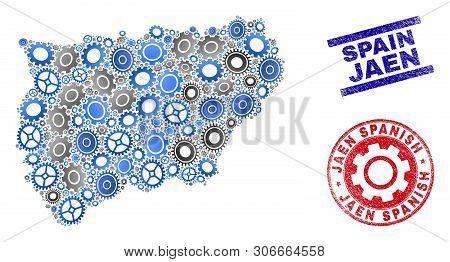 Cog Vector Jaen Spanish Province Map Mosaic And Seals. Abstract Jaen Spanish Province Map Is Done Wi